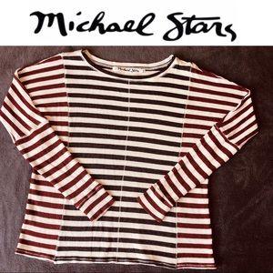 Oversized Knit Top Strip Red WhiteBlue Long Sleeve
